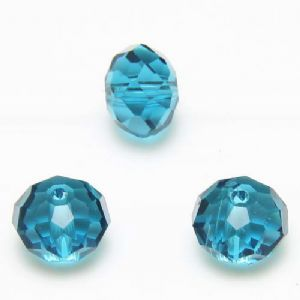Beads, Selenial Crystal, Crystal, Teal , Faceted Discs, 10mm x 8mm, 10 Beads, [ZZC139]